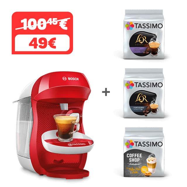 TASSIMO HAPPY - ROJO&BLANCO + 3 PAQUETES DE CAFÉ