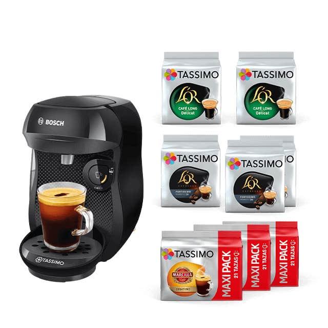 TASSIMO Happy - Negro + 100% café negro