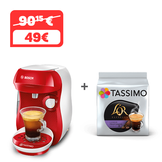 TASSIMO HAPPY - rojo + 1 paquete de CAFÉ