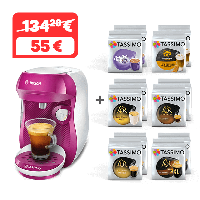 TASSIMO 12 paquets achetés = HAPPY violette offerte