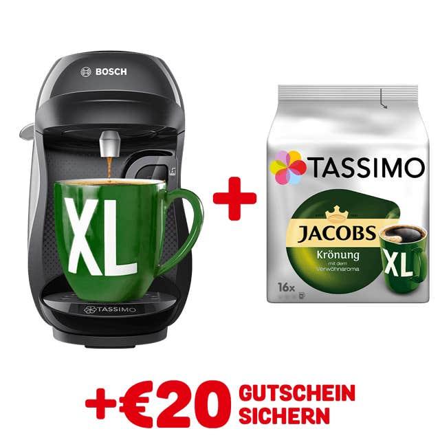 TASSIMO HAPPY Black + gratis Jacobs Krönung XL