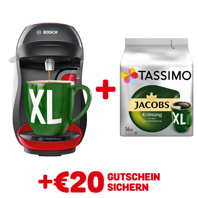 TASSIMO HAPPY Black/ red + gratis Jacobs Krönung XL