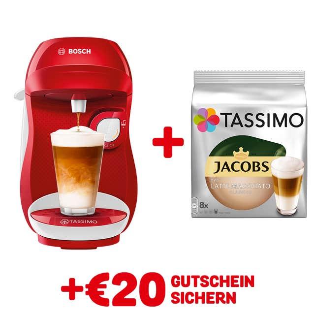 TASSIMO HAPPY Red/ white + GRATIS JACOBS TYP LATTE MACCHIATO