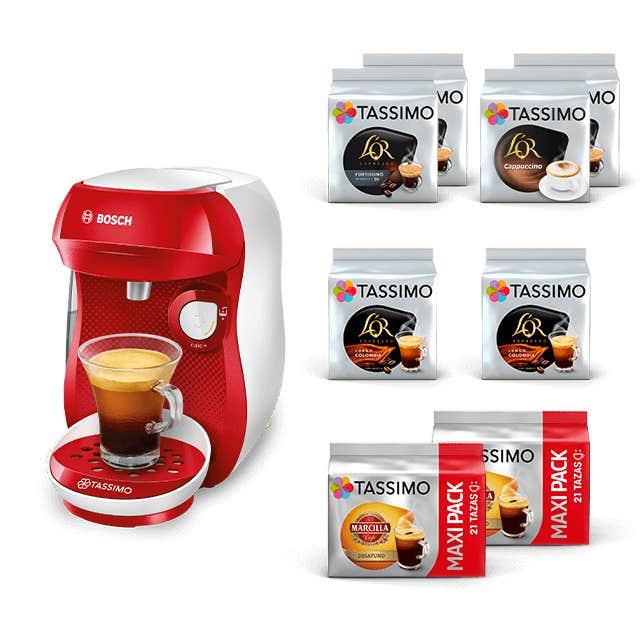 TASSIMO Happy - Rojo + Café negro y leches