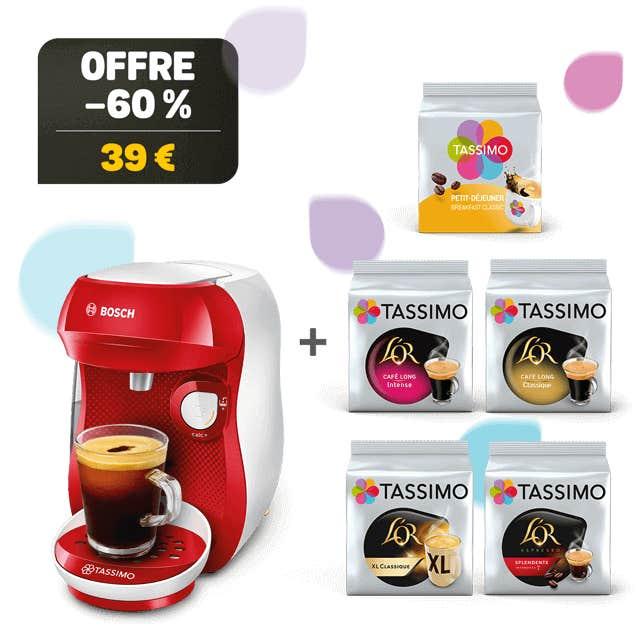TASSIMO HAPPY rouge/blanc machine à café + 5 paquets