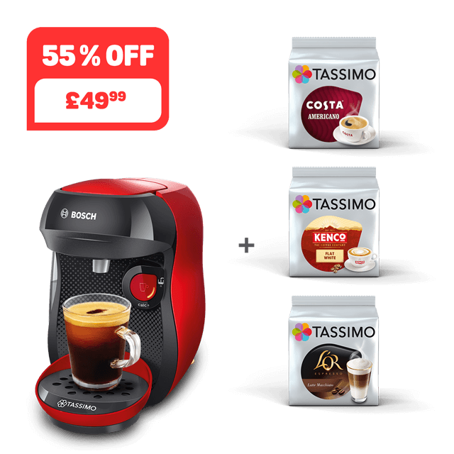 TASSIMO HAPPY - Red/black + 3 packs