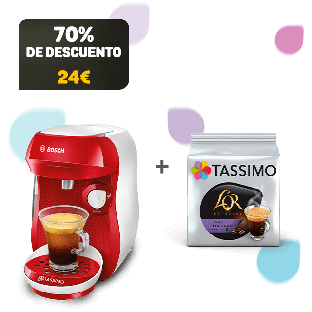 TASSIMO Happy rojo & blanco cafetera + 1 paquete de café