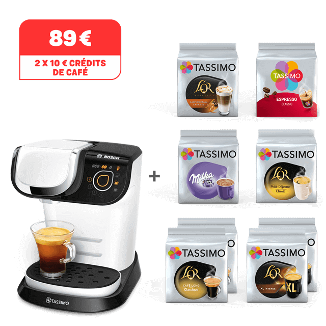 TASSIMO My Way blanche achetée = 8 paquets offerts