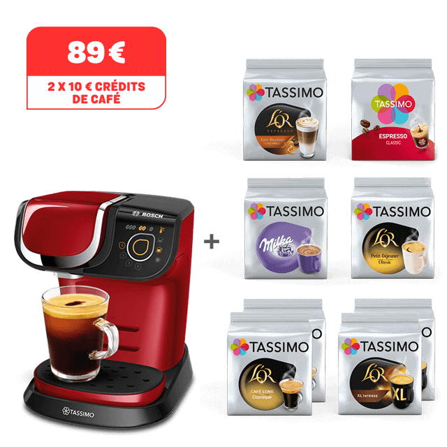 TASSIMO My Way 2 rouge achetée = 8 paquets offerts