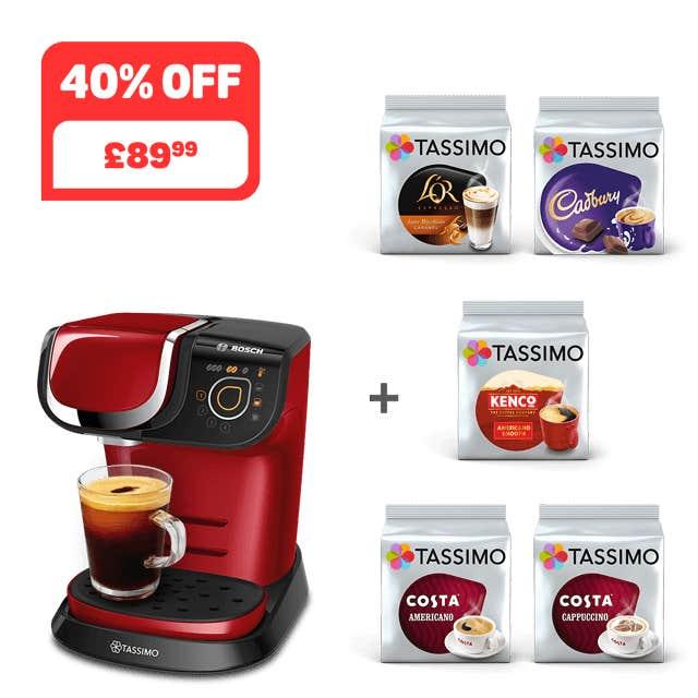 TASSIMO MY WAY 2 Red coffee machine + 5 packs